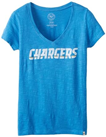 Ladies NFL San Diego Chargers Retro Logo V Neck Scrum Tee by