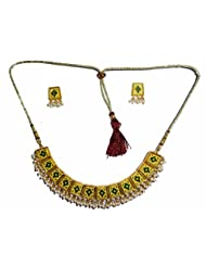 Neeju Collection Two colour combination of window choker with bead frontal neclace and Ear-rings.