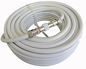15m Fully Assembled TV Aerial Coax Extension Cable / Fly lead , Male - Male Connections In White From Mast Digital