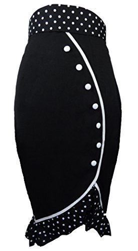 -The Deadly Tulip- Black Pencil 40s 50s Retro PinUp Polka Dot Vintage Style Skirt