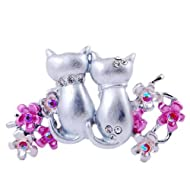 Pink cat brooch pin white gold plated rhinestone