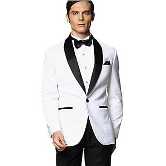 mys mens custom made groomsman tuxedo white suit black