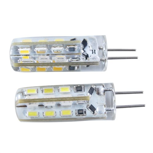 Jambo 1 Pc Silica Gel Car Auto Led Lamps G4 3528 24 Smd Warm White Dc 12V G4 Corn Light Replacement For Rv Camper Trailer Boat