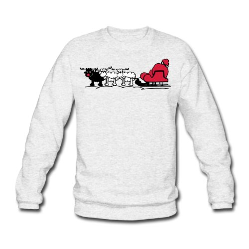 Spreadshirt, weihnachtsschlitten_schelch_3farb, Men's Sweatshirt, salt & pepper, XXL