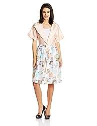 Quirk Box Women's Viscose Wrap Dress (QRW4PCOD-L_Multi-Color)