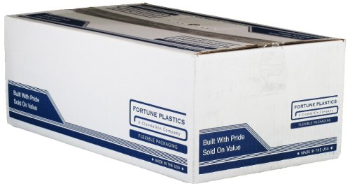 """Fortune Plastics DuraLiner LiteGrade LDPE 15 Gallon Waste Can Liner, Gusset Seal, Clear, 0.35 Mil, 33"""" x 24"""" x 9"""" (Case of 1000)"""