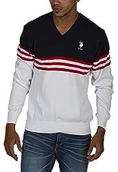 US POLO ASSOCIATION Men's Blended Sweatshirt (USSW0428_White_Medium)