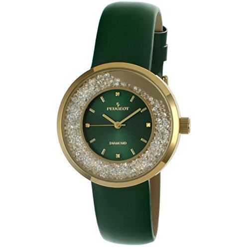 Peugeot Women's Genuine Diamond Marker Gold Tone Floating Crystal Watch