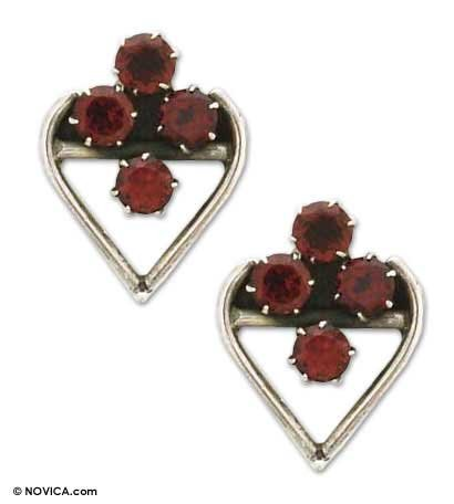 Garnet earrings, 'Room in My Heart' 0.8