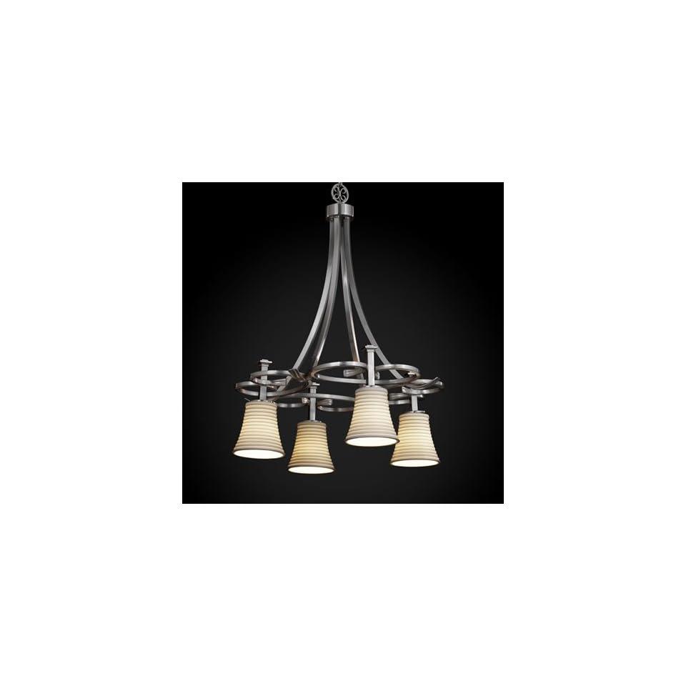 Justice Design Group POR 8565 20 SAWT NCKL Limoges 4 Light Chandeliers in Brushed Nickel