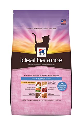 Hill'S Ideal Balance Natural Chicken And Brown Rice Recipe Kitten Dry Cat Food Bag, 3-Pound