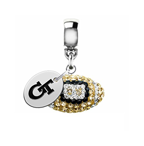 Georgia Tech Yellow Jackets Crystal Football Drop Charm Fits All European Style Charm Bracelets