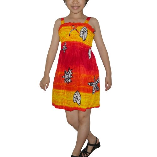 Girls Thai Exotic Gathered / Smocked Bodice Flowing Sleeveless Summer Tank Dress - Size: 7