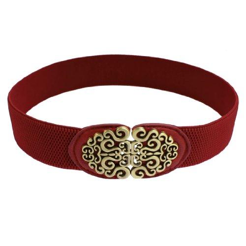 Ladies Bronze Tone Spiral Accent Buckle Closure Red Elastic Waist Belt Band