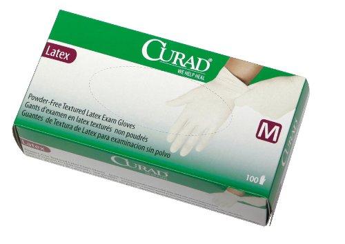 CURAD Powder-Free Textured Latex Exam Gloves,Beige,Small, Qty 1000