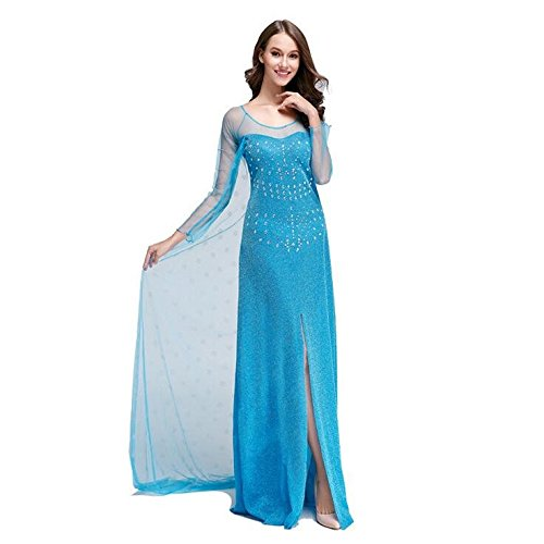 iPretty Womens Elsa Costume Cosplay Party Princess Dress Adult