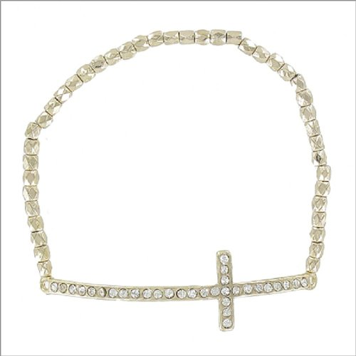 Stone Cross W Textured Beads Bracelet #041461