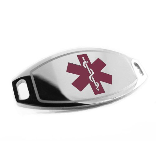 My Identity Doctor - Gluten Allergy Medical Alert ID Tag, Attachable To Bracelet, Purple Symbol Pre-Engraved