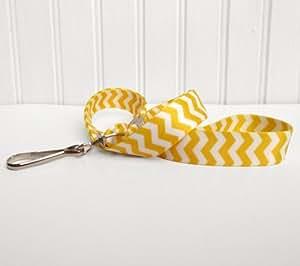 Chevron ID Lanyard - Lemon Yellow and White