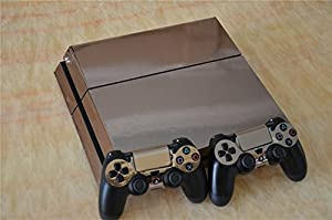 Electroplating Decal Sticker Skin for Playstation 4 Ps4 (Console Skin X 1 + Controller Skin X 2) (Rose gold)