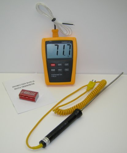 K-type Scientific Laboratory Digital Thermometer DM6801 with Heavy Duty Stainless Steel Thermocouple TC-4