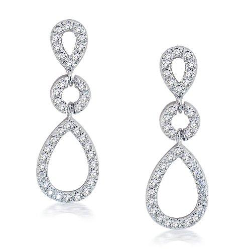 Bling Jewelry Kate Middleton Royal Wedding Teardrop Silver CZ Chandelier Earrings