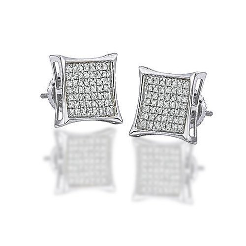 Bling Jewelry Mens Sterling Silver Kite Micro Pave CZ Stud Earrings 11mm