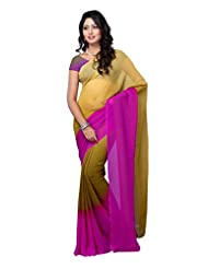 Fabdeal Yellow Daily Wear Georgette Printed Saree - B00N5UVO1Q