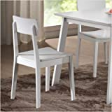 Set of 2 Dining Chair with Contoured Seat in White Finish