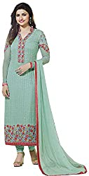 Binny Creation Women's Faux Georgette Unstitched Dress Material (Light Blue)
