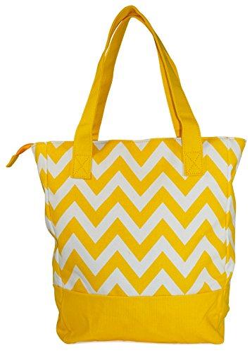 Ever Moda Yellow Chevron Canvas Tote Bag 15-inch
