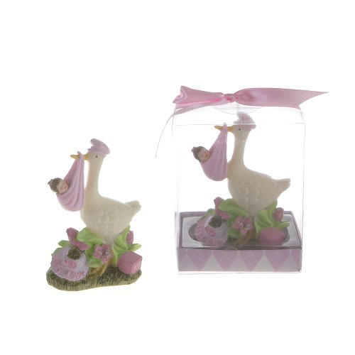 "Lunaura Baby Keepsake - Set of 12 ""Girl"" Stork Carrying Newborn Favors - Pink"