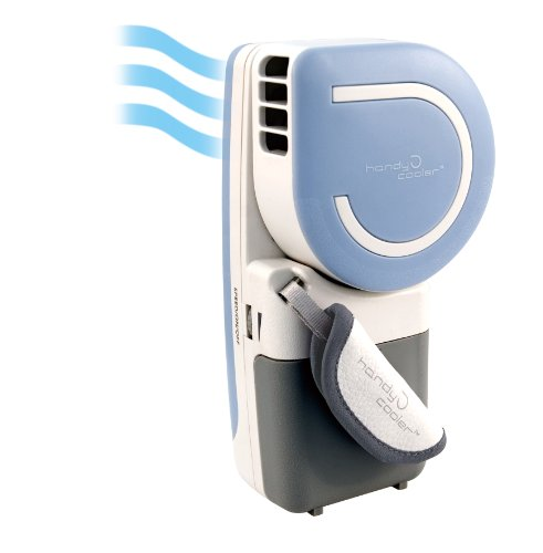 Small Fan & Mini-Air Conditioner: The Original Handy Cooler in Blue. Portable and convenient. Runs on batteries or USB. Cools air up to 30F.