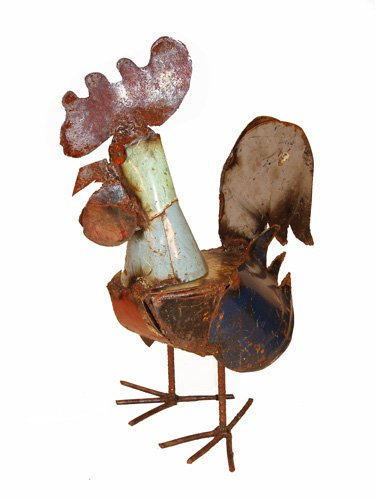 Baby Cocka Doodle Doo Small Rooster : Recycled Metal Animal Garden Art Sculpture