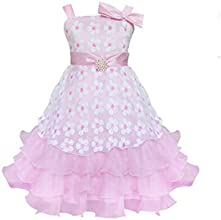 Generic Girls Faux Pearl Flower Sleeveless Formal Pageant Party Dress 61