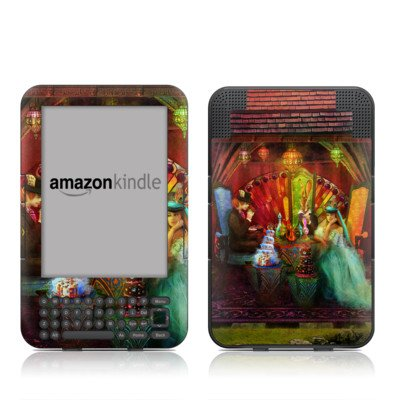 A Mad Tea Party Design Protective Decal Skin Sticker For Amazon Kindle Keyboard / Keyboard 3G (3Rd Gen) E-Book Reader - High Gloss Coating