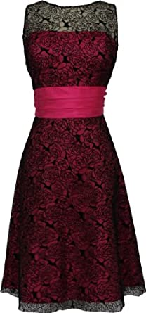 Rose Lace Over Satin Prom Dress Formal Cocktail Gown Junior and Junior Plus Size, 2X, Black-Fuchsia