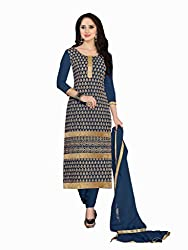 Blue colour embroidered georgette fabric semi stich churidar dress material
