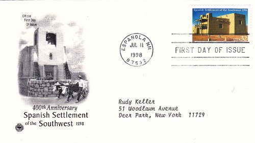 1998 U.S. 32c Stamp Spanish Settlement, on First Day Cover, Postmarked Espanola NM Jul 11, 1998 - 1