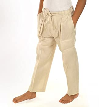 Natural linen drawstring pants for boys by JMP