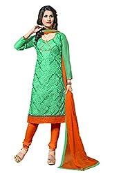 Suchi Fashion Embroidered Turquoise & Orange Chanderi Dress Material