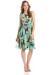 Isaac Mizrahi Women's Sleeveless Printed Chiffon Dress with Belt