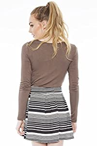 Mix Stripes Skater Skirt Black/White S