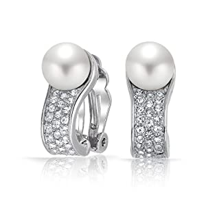 Bling Jewelry Great Gatsby Inspired Round White Faux Pearl Crystal Clip Ons