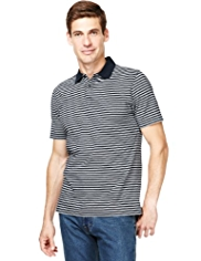 Pure Cotton Feeder Striped Polo Shirt