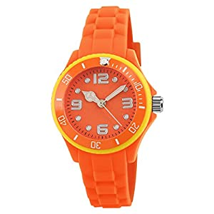 Unisex Child's Water Resistant Watches Boys and Girls Quartz Watch Students Outdoor Sports Watch Christmas Gift Watch (Orange)
