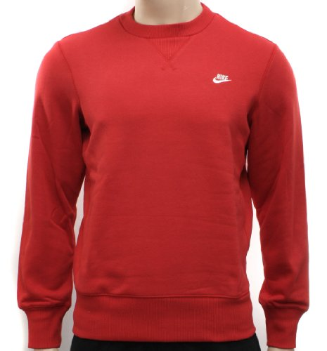 New Nike Mens Red Fleece Crew Sweatshirt Sweatshirt Size S