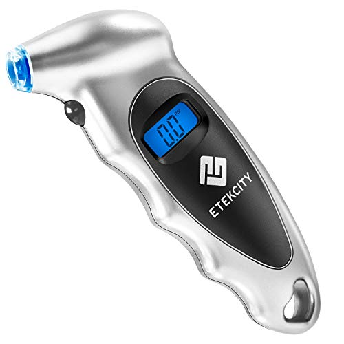 Etekcity Digital Tire Pressure Gauge, 150 PSI Small Monitoring Tool with Lighted Nozzle, Backlit LCD and Non-Slip Grip, 4 Pressure Settings for Car, Bike, Truck, Silver