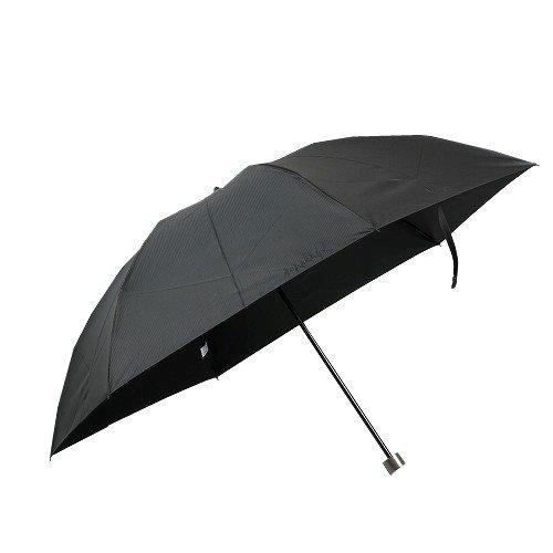 【BURBERRY】バーバリー 日本製 ブランドロゴ刺繍&ストライプ 紳士折りたたみ傘(雨傘) 茶×黒