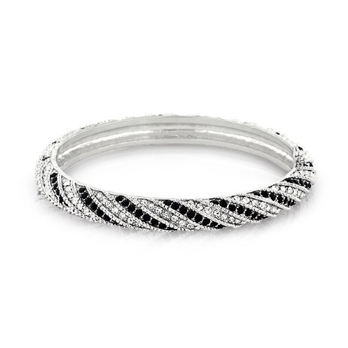Bling Jewelry Silver Tone Cubic Zirconia Pave Black White Bangle Bracelet 7.5in